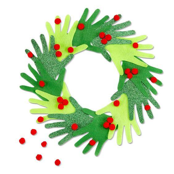 Christmas Mix Pom Poms By Creatology™ #activitemanuellenoelmaternelle Kid's Hand Christmas Wreath