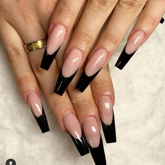 Black French Tip In 2020 Black Acrylic Nail Designs Black Acrylic Nails Long Acrylic Nails