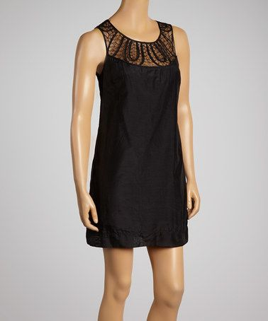 Another great find on #zulily! Black Crochet Silk-Blend Shift Dress #zulilyfinds