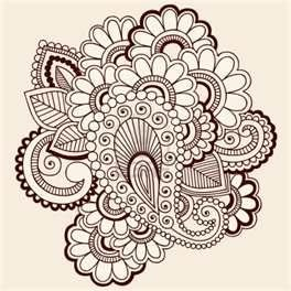 Drawn Intricate Abstract Flowers Mehndi Henna Tattoo Paisley Doodle