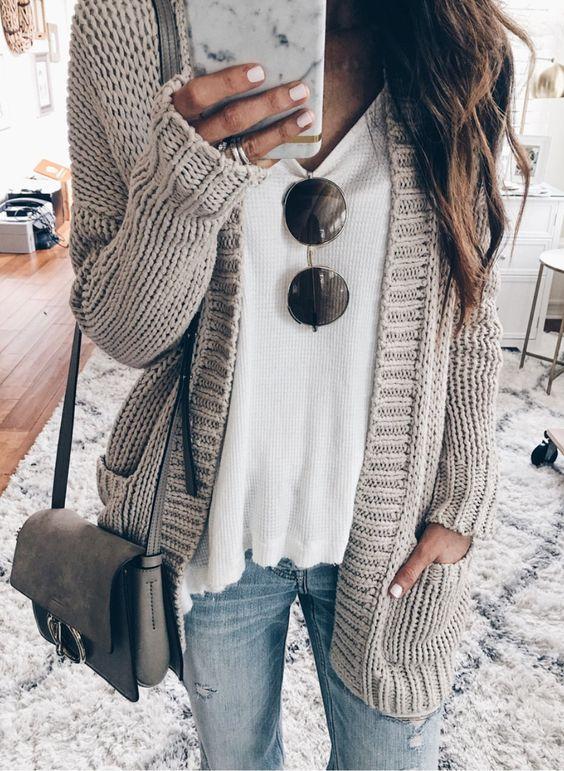 spring fashion  Grey Cardigan