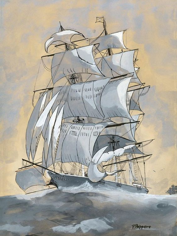 High Seas, Print of Original Pen and Watercolor Painting matted 10x8 and ready to frame 14x11.