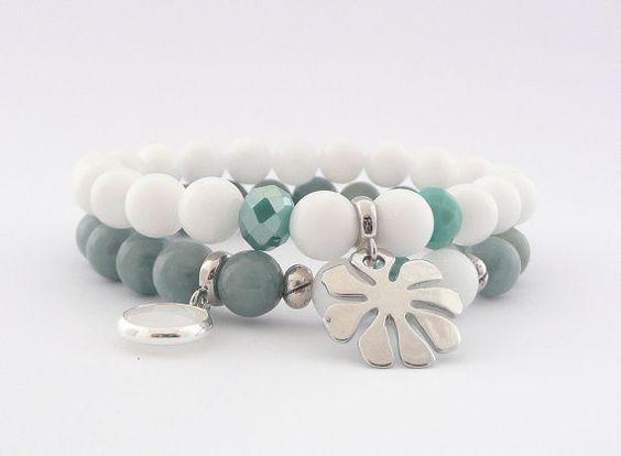 Elegant Gemstone Set of Bracelets, Grey and White Set of Bracelets with Silver Tone Elements, Spring Bracelets