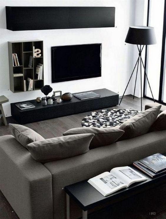 8 Minimalist Living Rooms With Masculine Feel For Small Space # #black #dark #livingroom #masculine #men #minimalist #white, #Interior Design