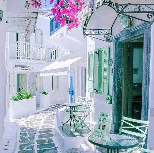 Lovely alley in Mykonos! So pretty