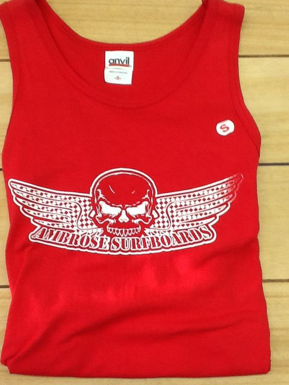 Red Checkered Skull Wing Tank Top