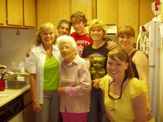 My great-grandma Ruth is 95 and lives in CA. She has a crazy memory, and won't let you leave until she's cooked for you. I love seeing her!