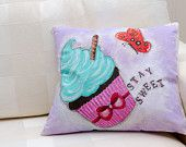 Colorful cupcake painted with vivid acrylic colors with one butterfly and writing ,,stay sweet,,next to it.  Beautiful present for everyone! Made by Slavica Koceva.