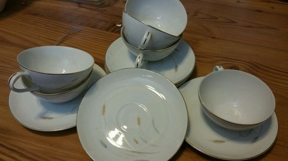 FINE CHINA MADE IN JAPAN cups and saucers SET OF 6 golden wheat