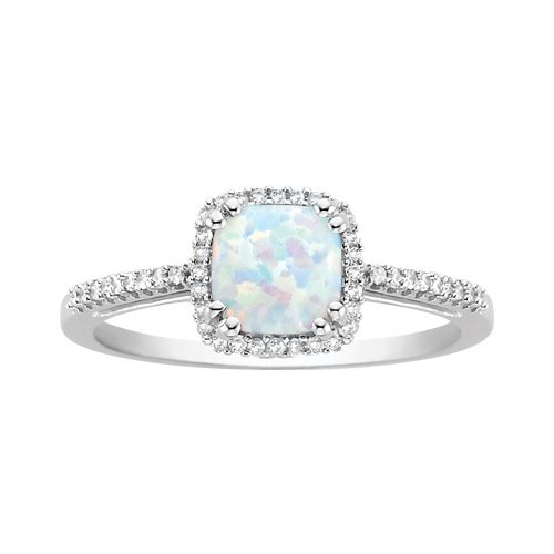 Simple Fred Meyer Jewelers Opal and Diamond Birthstone Ring
