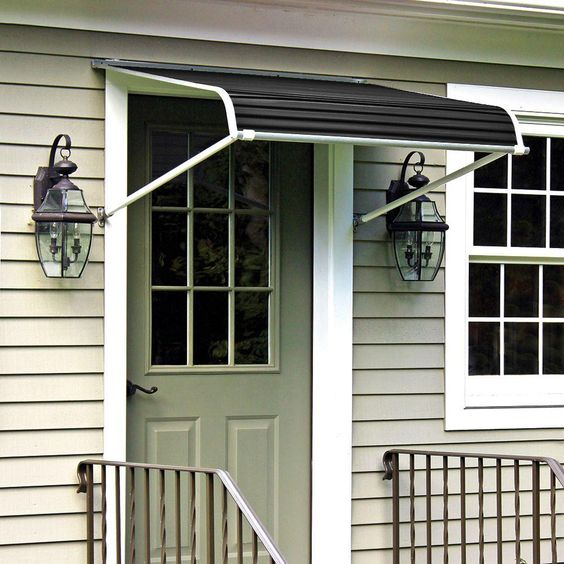 NuImage Awnings 4 ft. 1100 Series Door Canopy Aluminum Awning (16 in. H x 42 in. D) in Black-K110704890 - The Home Depot