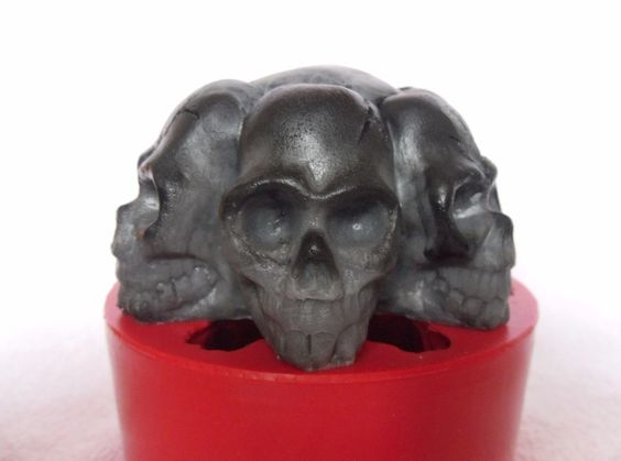 """""""Skulls"""" silicone mold for soap and candles making mould molds halloween fun Oh my!  This ones for me!"""