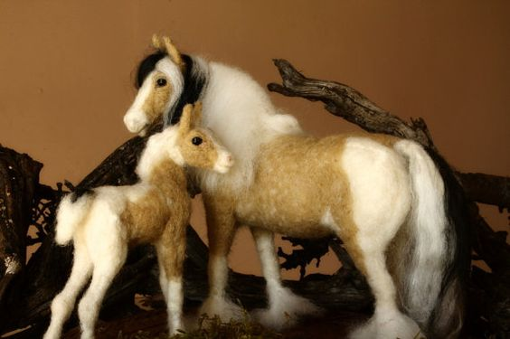 Needle Felted horse, Gypsy Vanner, mother and son, equestrian sculpture, equine…