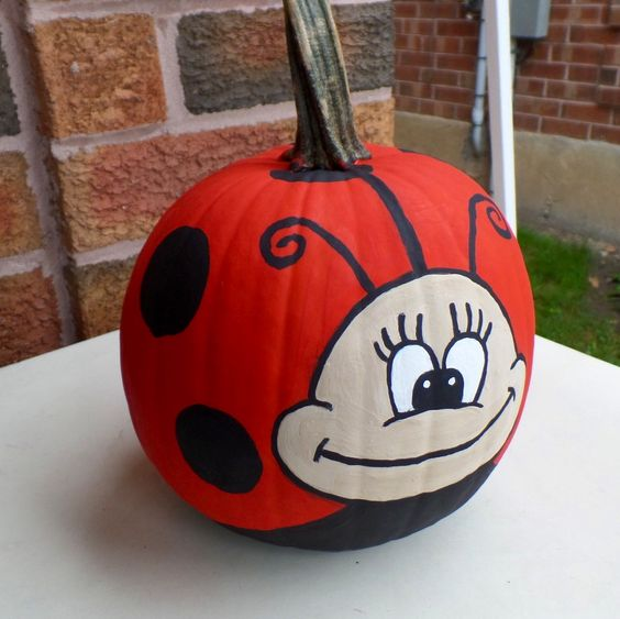 Gray Bugs On My Pumpkins : Pumpkins painted and lady bug on