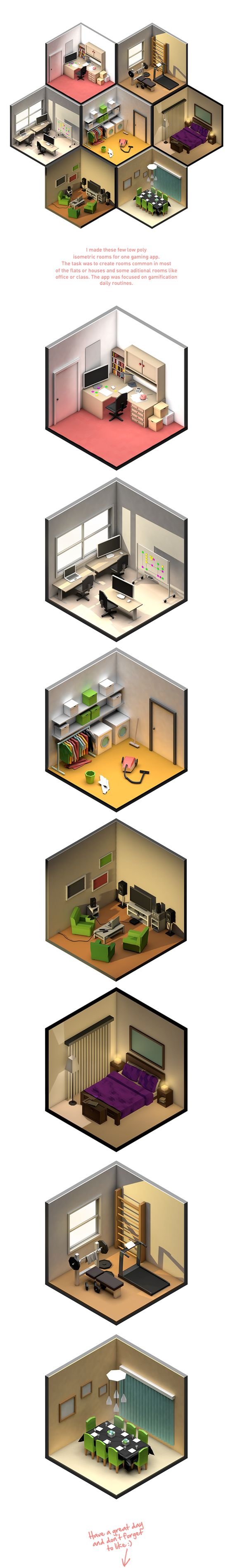 Low Poly rooms by Petr Kollarcik, via Behance