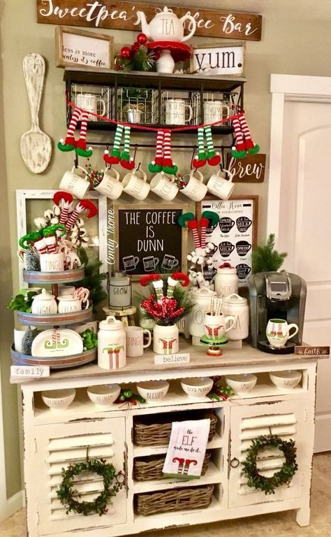 Farmhouse Coffee Bar Christmas 41 Ideas Farmhouse Christmas Decor Christmas Decorations Rustic Christmas