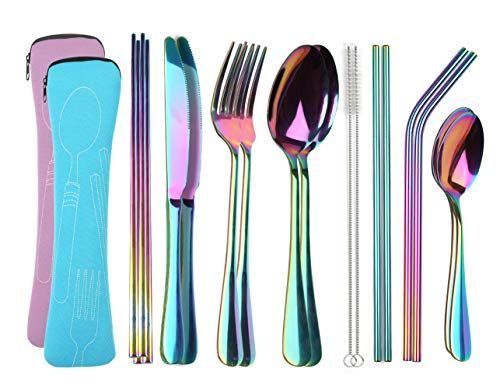 Color ME 3 Pieces Flatware Set Fork Spoon Chopsticks Stainless Steel Tableware with Carrying Case for Traveling Camping Picnic Working Hiking