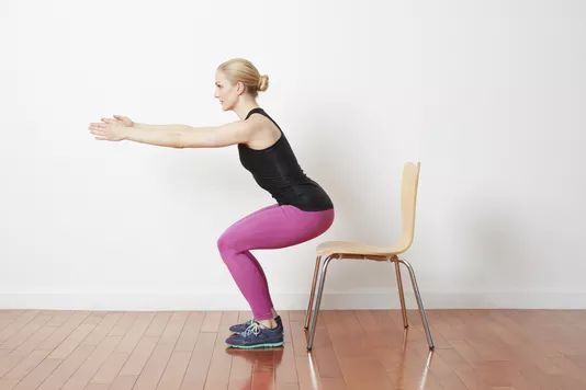 Pulsing Chair Squats Strength Workout Exercise Senior Fitness