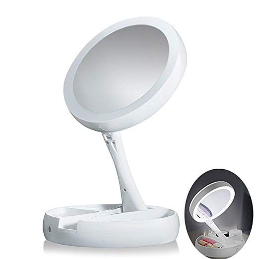 Sasa Foldable Mirror The Lighted Make Up 1x 10x Magnifying Double Sided Vanity Mirror Review Foldable Mirror Mirror Personal Mirror