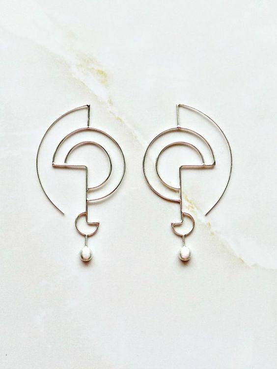 Plata pendientes geométricos esculpidos orgánica pendientes de plata, pendientes moderno inspirado en las líneas, joyas geométricas para ella, joyería elegante