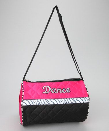 Take a look at this Black & Pink Zebra 'Dance Duffel Bag by Seesaws & Slides on #zulily today!