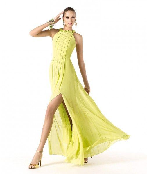 Modelo Rudelle. Vestidos de Fiesta 2014 Pronovias. Coleres Ácidos.