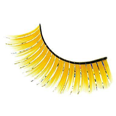 1 Pair Pink/Yellow Artificial Fiber False Eyelash - USD $ 2.99