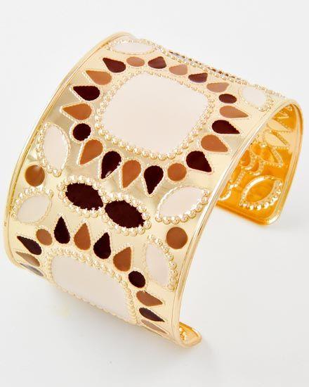 Gold Tone / Brown & Beige Epoxy / Lead Compliant / Cuff Bracelet