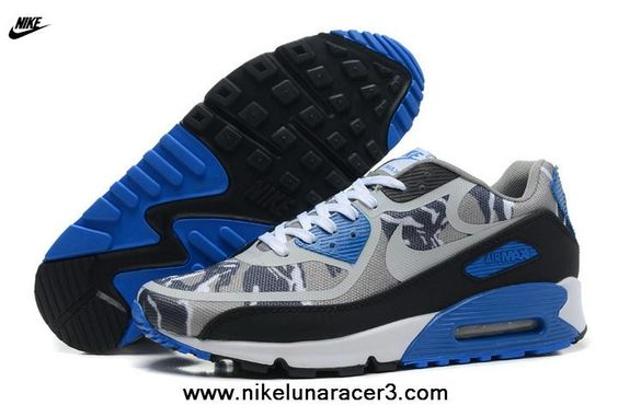 New Nike Air Max 90 2013 Differentiation Grey Blue Black Womens Shoes