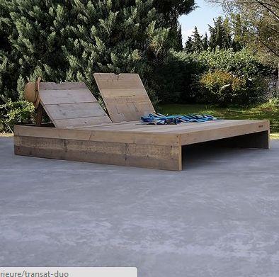 Chaise longue en bois de palette jardin balcon for Recherche chaise longue