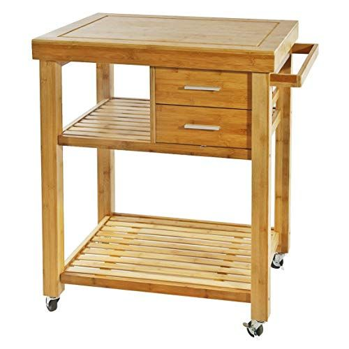 Natural Bamboo Wood Rolling Kitchen Island Cart On Wheels With 2 Drawers And Storage Shelves Towel Rack Kitchen Island Cart Rolling Kitchen Island Towel Rack