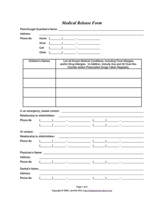 Daycare Emergency Contact Form  BesikEightyCo
