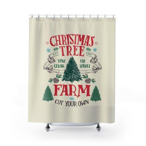 Christmas Tree Festive Shower Curtain Tree Shower Curtains