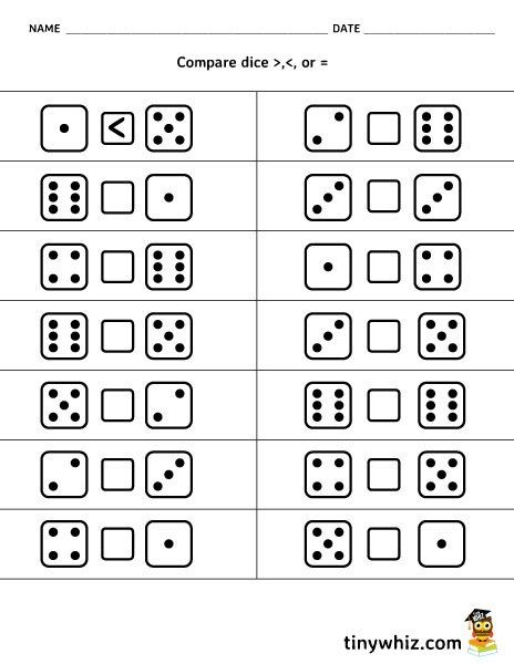 Compare Dice Less Than More Than Equal To Free Printable Math Worksheet Kids Math Worksheets Kindergarten Math Worksheets Printable Math Worksheets
