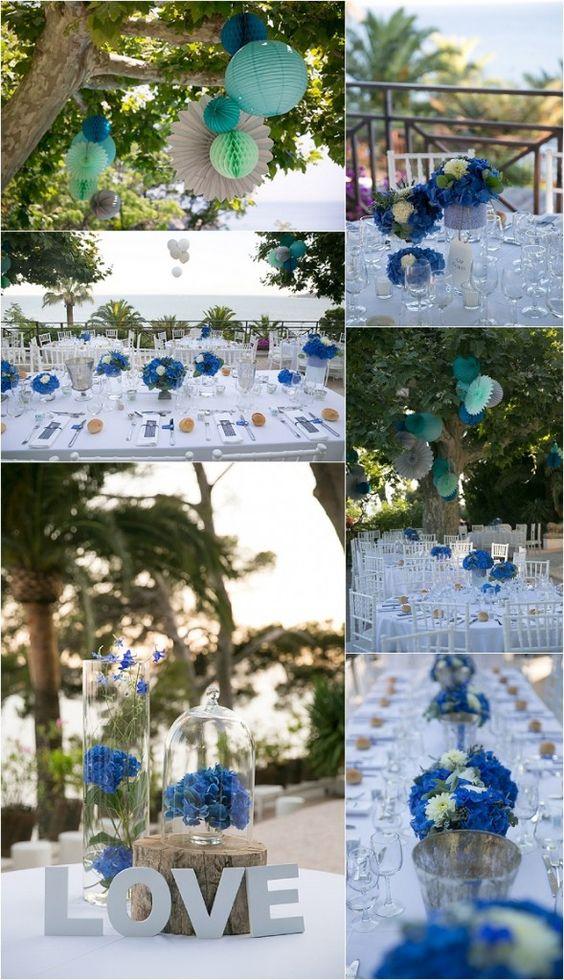 Marine et Emmanuel, mariage en bleu au Cap brun décorer avec les fleurs