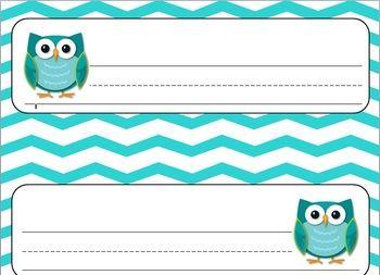 Owl and Turquoise Chevron Name Plates in my TeachersPayTeachers store!!!