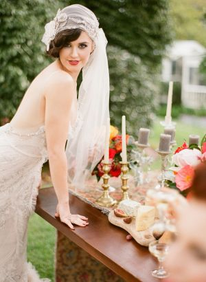 Just gorgeous, is this Juliet cap Bridal Veil with floral Crystal and pearl side accents...