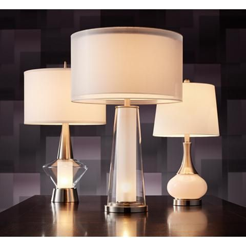 Bruno Clear Glass With Frosted Inner Nightlight Table Lamp 16x61 Lamps Plus Table Lamp Lamp Clear Glass Table Lamp
