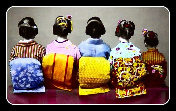 https://flic.kr/p/o1y8Qs | SHOW ME THE OBI !!! -- Four Women and a Girl Turn Their Backs on Photographer T. ENAMI | Circa 1892-95 studio photo by T. ENAMI, catalog number 649 - JAPANESE KINDS OF HAIR-DRESS.  This photo now joins a few others like it near the top of the SHOW ME THE OBI !!!  set :  ♥   www.flickr.com/photos/okinawa-soba/sets/72157605634646997/   One of almost 900 large format, 2-D images photographed and published out of his Yokohama studio on Benten Street back in the 19th Ce...: