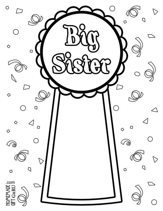 Big Sister Coloring Page Big Sister Gifts Sisters Printable Big Brother Little Sister
