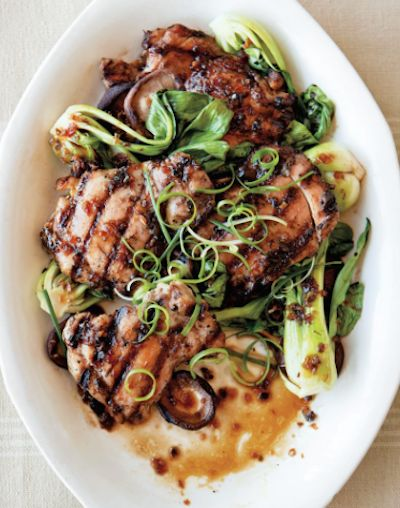 Asian flavored chicken with shiitakes and bok choy