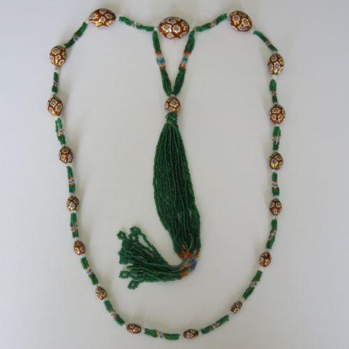 Vtg-Art-Deco-Venetian-Millefiori-Glass-Bead-Seed-Bead-Sautoir-Flapper-Necklace