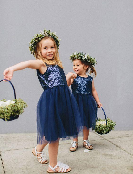 navy flower crown flower girls