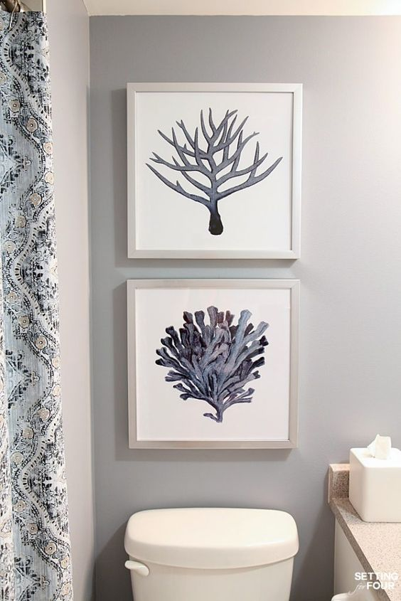 How to hang pictures above the toilet at the right height, even and straight.