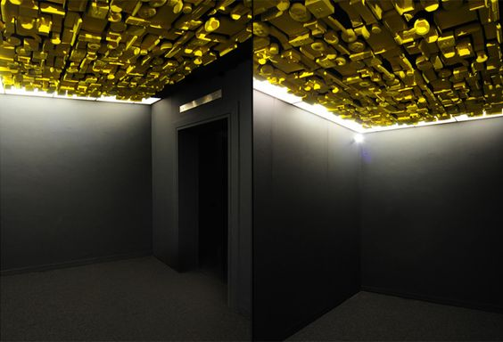 Made.com showroom by Bureau de Change Design Office, London / several hundred miniatures suspended from the ceiling