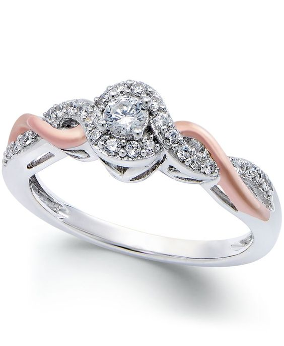 Diamond Twist Promise Ring (1/5 ct. t.w.) in 14k White Gold and Rose Gold