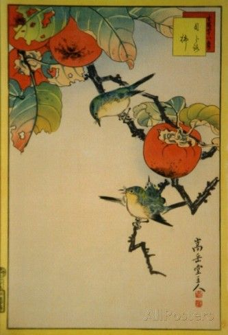Japanese Eyeglass-Birds and Khaki Fruit アートプリント