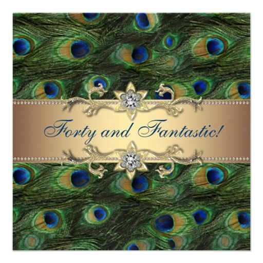 Peacock Womans 40th Birthday Party Personalized Invitation