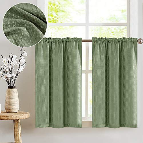 Jinchan Water Proof Waffle Weave Textured Tier Curtains For Kitchen Window Curtains For Bathroom Shower Window Curtai Curtains Tier Curtains Kitchen Curtains