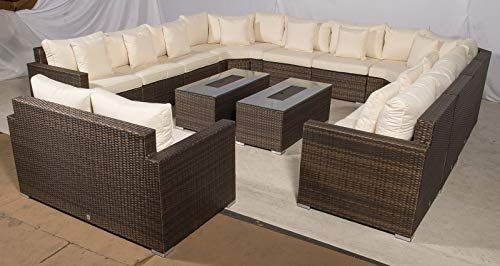 Set Giardino In Rattan.Giardino Santorini Large 12 Seater Brown Rattan Sofa Set With